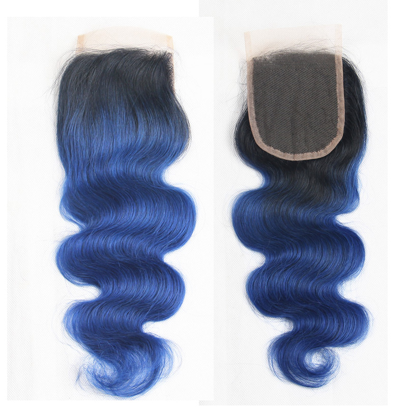 Human Hair Weaves Closures Honest Riya Hair 1b/ocean Blue Ombre Brazilian Body Wave Human Hair 4x4 Swiss Lace Closure Middle/free/three Part With Ombre Remy Hair Selling Well All Over The World