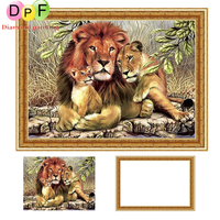 DPF With Frame Diamond Painting Cross Stitch Kits Lion Round Full Diamond Mosaic Diamond Embroidery Needlework