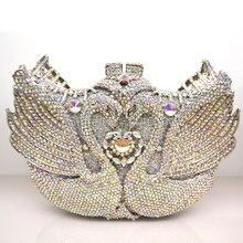 Hohe qualität silber branded tageskupplungen Top Luxus Vintage Schwan diamanten besetzt abendtaschen Frauen tasche bling umhängetaschen Q19