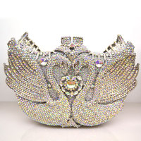High Quality Silver Branded Day Clutches Top Luxury Vintage Swan Diamonds Studded Evening Bags Women Bag