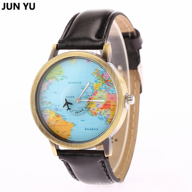 JUNYU World Map Watch Globe Graduation Gift for women Wanderlust gift - Men's Watches