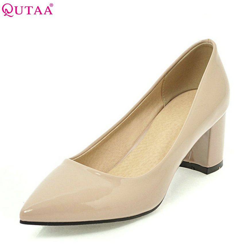 QUTAA 2018 Women Pumps Square High Heel Fashion Women Shoes Pointed Toe Patent Leather Slip on Casual Wedding Shoes Size 34-43 2018 women yellow high heel pumps pointed toe metal heels wedding heel dress shoes high quality slip on blade heel shoes