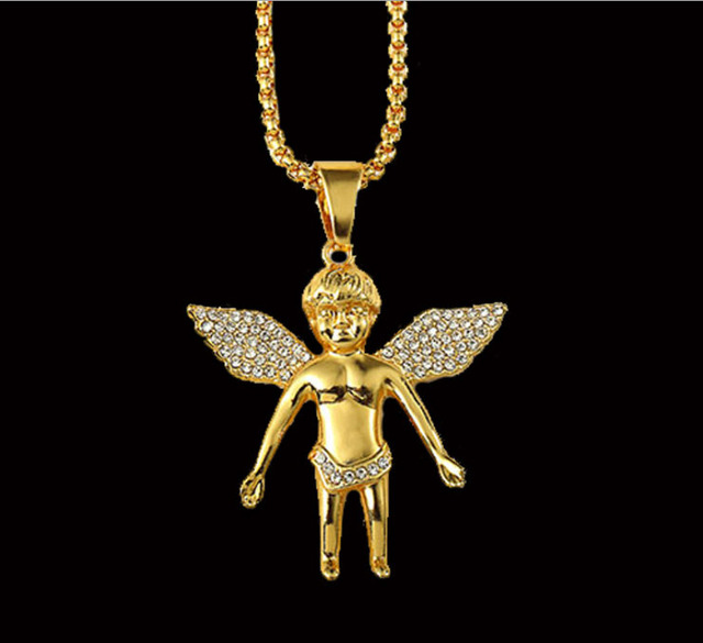 mens hiphop jewelry 2015 Micro Angel Piece Necklace wings pendent