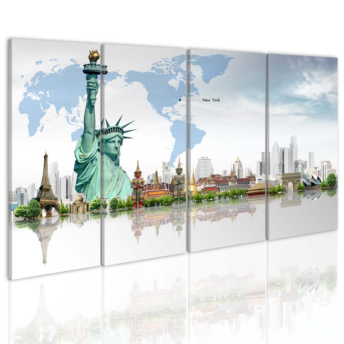 New York City Picture Canvas Painting Modern Wall Art: Modern City Black And White Decoration Statue Of Liberty