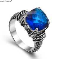 925 Sterling Silver Ring 2016 Vintage Jewelry With Blue Sapphire Quartz For Men Wedding Anniversary Accessories