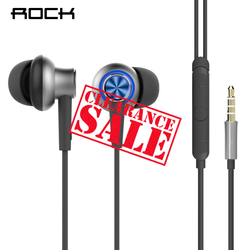 Original ROCK In ear Hybrid Pro HD Earphone with HiFi Mic Remote Headset for iPhone 6 7 8, Xiaomi Mobile Phone Earphone 100% original xiaomi hybrid pro hd earphone with mic in ear hifi noise canceling headset circle iron mixed for xiaomi note4 mi 6