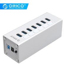 ORICO алюминиевый USB 3,0 концентратор 7 портов концентратор с адаптером питания 12V2A и 3.3Ft. USB3.0 Дата кабель-серебристый (A3H7)