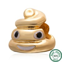 ChaWin Gold Plated Sterling Silver Emoji Face Poop Beads Fits Pandora Charms Bracelets Necklaces