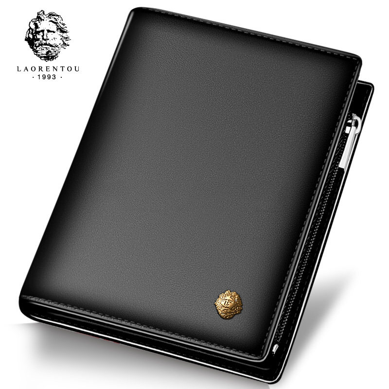 LAORENTOU Men 100 Genuine Leather Short Wallet Casual Cow Leather Purse Standard Card Holders Wallets for