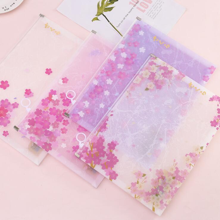 Newest 1PC PVC Pretty Sakura Cherry Blossoms Kawaii A4 File Folder Office Document Organizer Bag Students Paper Storage Case