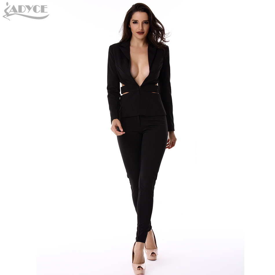 ADYCE 2017 Spring new fashion elegant office women suits black hollow out backless sexy lady business suit set blazers and pants