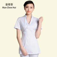 Health Club Work Clothing Female Teahouse Waitress Clothes Beauty Salon SPA Uniform 2piece Set Embroider DIY Logo Uniforms