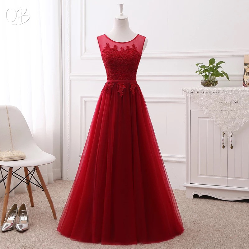 Long Elegant Evening Dress A line Tulle Lace Embroidery Prom Formal Dreses Many Color Wine Red