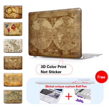 Retro World Map Crystal Hard Case For Apple Macbook Air 11 Air 13 For Macbook Pro 13 Pro 15 New Retina 12 Case Notebook Bags