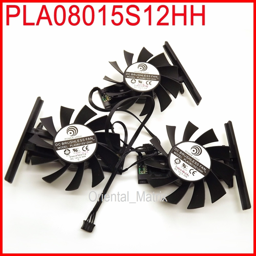 Free Shipping 3pcs/lot PLA08015S12HH 12V 0.35A 74mm Cooling Fan For GTX670 GTX570 Graphics Card Fan personal computer graphics cards fan cooler replacements fit for pc graphics cards cooling fan 12v 0 1a graphic fan
