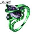 Junxin feminino masculino pruple verde anel de ouro cheias de casamento anéis de noivado do vintage para homens e mulheres da moda jóias