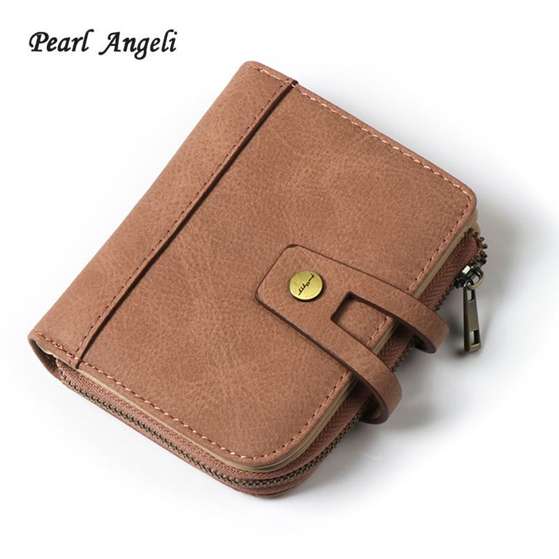 Wallet Female  Short Designer PU Leather Coin Purses Ladies Clutch Credit Card Holders Hasp Zipper Purse Money Wallets for Women