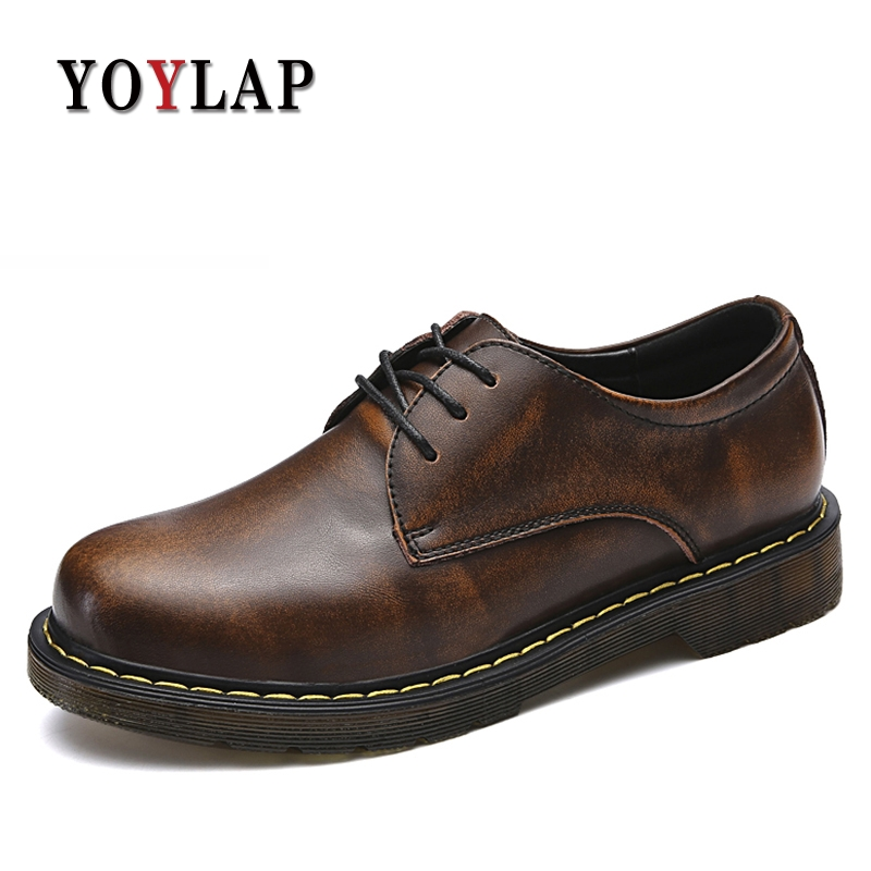 Yoylap 2018 NEW men boots spring autumn military boots men shoes genuine leather ankle Lace-Up Round Toe high quality wholesale new men genuine leather lace up pointed toe checked men s oxford dress shoes high quality celebrity ankle boots