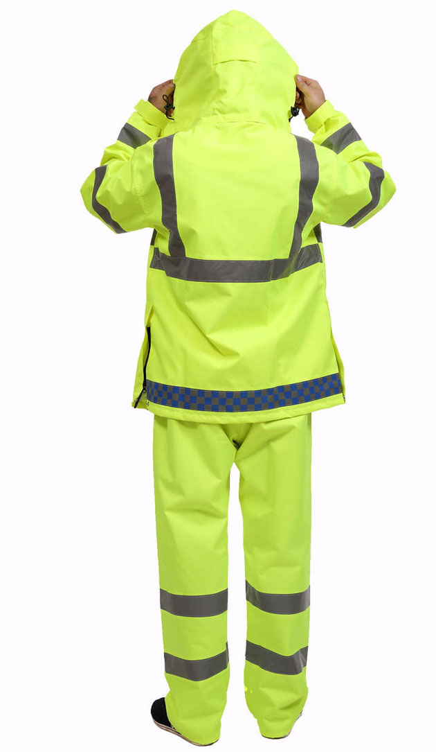 Traffic police outdoor reflective raincoat Fluorescent yellow reflective split raincoat rain pants Waterproof outdoor road safetTraffic police outdoor reflective raincoat Fluorescent yellow reflective split raincoat rain pants Waterproof outdoor road safet