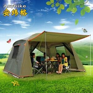 Ultralarge doble capa 5-8 persona tienda de campaña impermeable tienda cortavientos gran Gazebo familia Barraca Fiesta al aire libre carpa Carpas