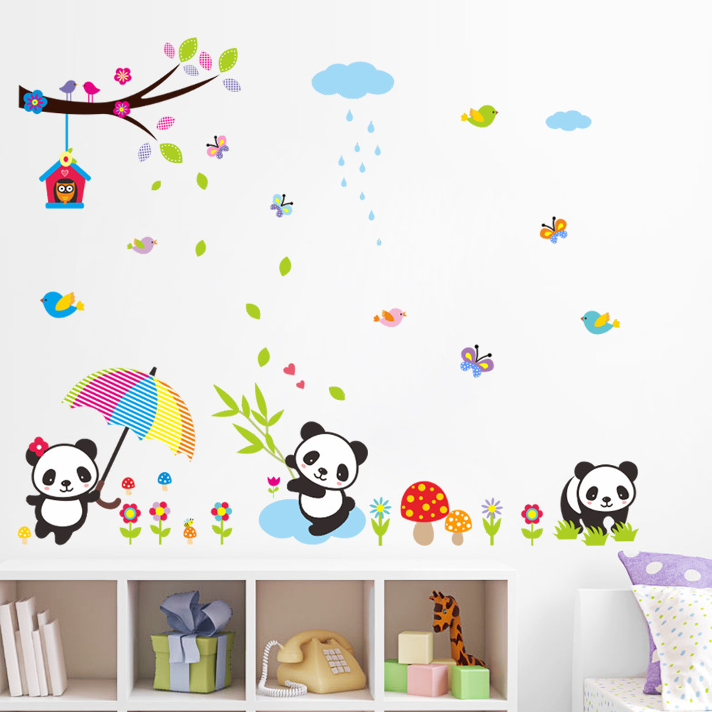 Oversize Cute Panda Wall Stickers Under the Tree Wall Decal Nature Scenery Stickers Baby Room for Kids Room Home Decor