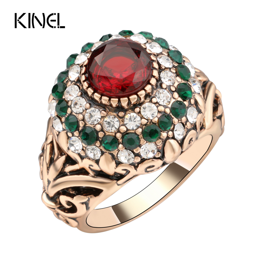 2017 New Turkish Red Rings Antique Gold Color Women's Jewelry Golden Crown Green Crystal Finger Ring