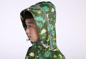 Image 4 - Chubasquero de dinosaurio para niños, capucha impermeable chubasquero para niños mono traje de lluvia, estudiantes bebé capa de lluvia poncho