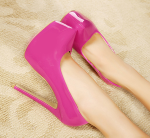 Free shipping Mirror 15cm platform big size thin heels high-heeled shoes women's shoes 5 - 15