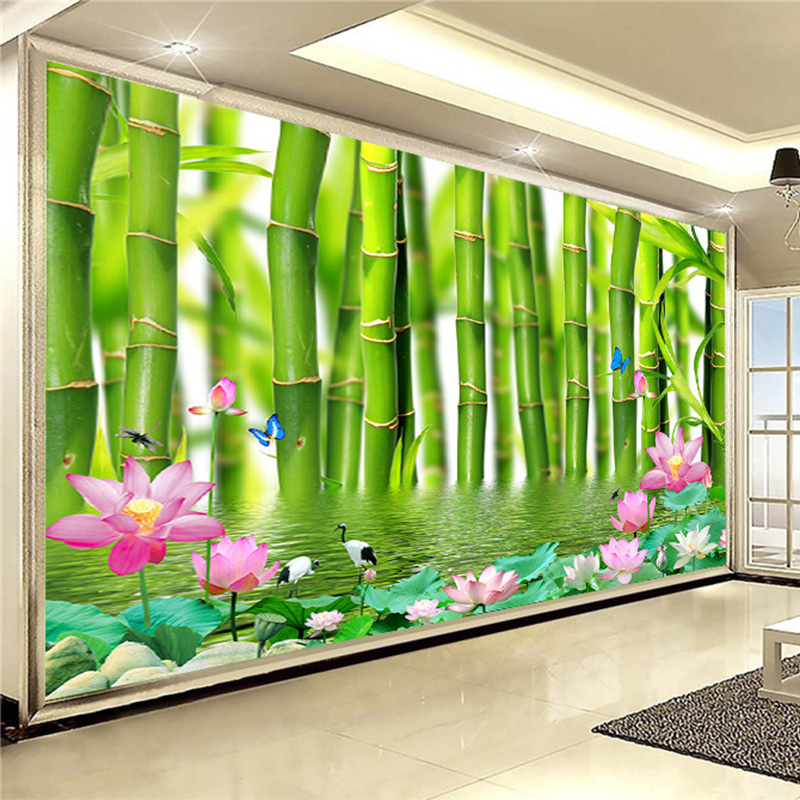 Custom Wallpaper For Walls 3 D Chinese Lotus Pond Bamboo Forest Wallpaper Living Room Bedroom Backdrop 3D Home Decor Papel Mural custom photo wallpaper garden and pond 3d wallpaper mural for the living room bedroom tv backdrop pvc papel de parede
