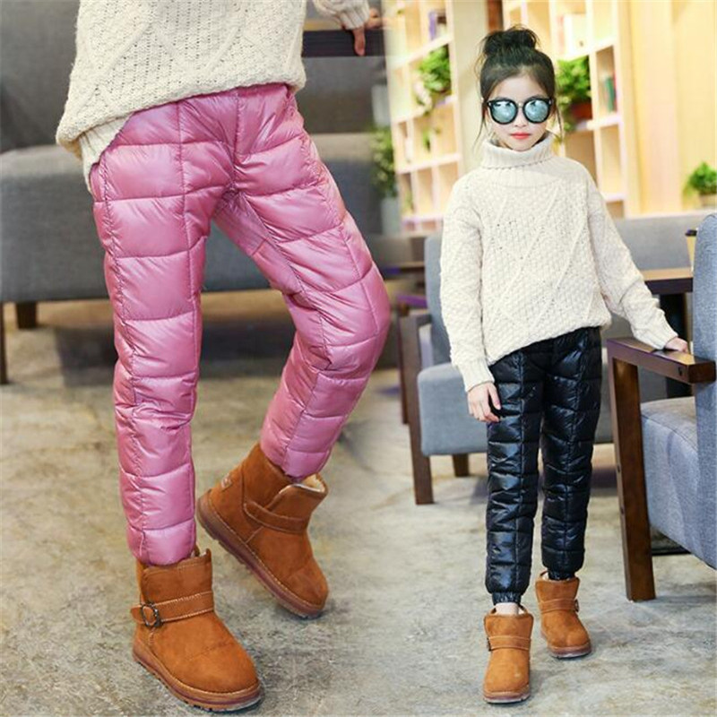 Winter Children Down Cotton Clothing Boys Pants Girls Leggings Kids Warm Down Trousers Windproof Waterproof Snow Pants For Kids c4520 brand autumn winter children patchwork keep warm trousers kids boys girls windproof waterproof sport children pants