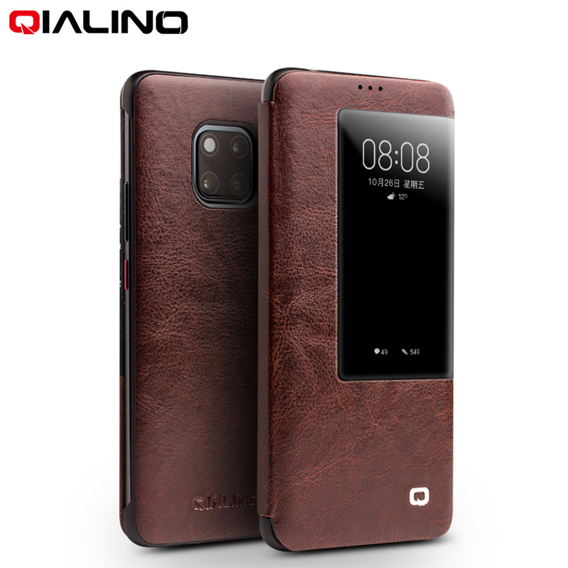 QIALINO Luxury Genuine Leather Smart View Flip Case for Huawei Mate20 Pro Stylish Handmade Ultra Slim Phone Cover for Mate 20QIALINO Luxury Genuine Leather Smart View Flip Case for Huawei Mate20 Pro Stylish Handmade Ultra Slim Phone Cover for Mate 20