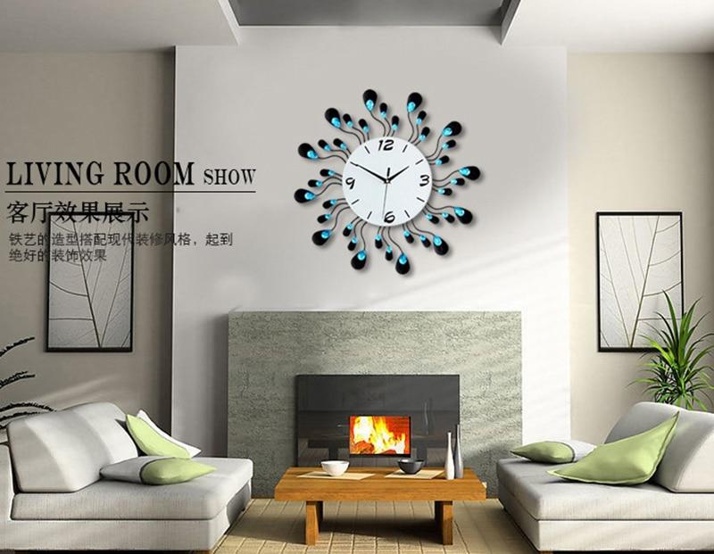 3D Big Wall Clock Modern Design Decorative Home Decor Wall Watches Living Room 36pcs Diamonds Wrought