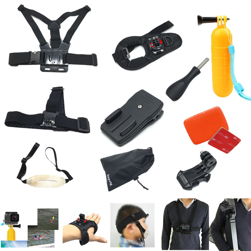 For Gopro Accessories Handheld Strap+Head Band+Chest Strap+360-Degree Rotation Clip+Float Mount For Gopro Hero6 5 Black 3 4 3+