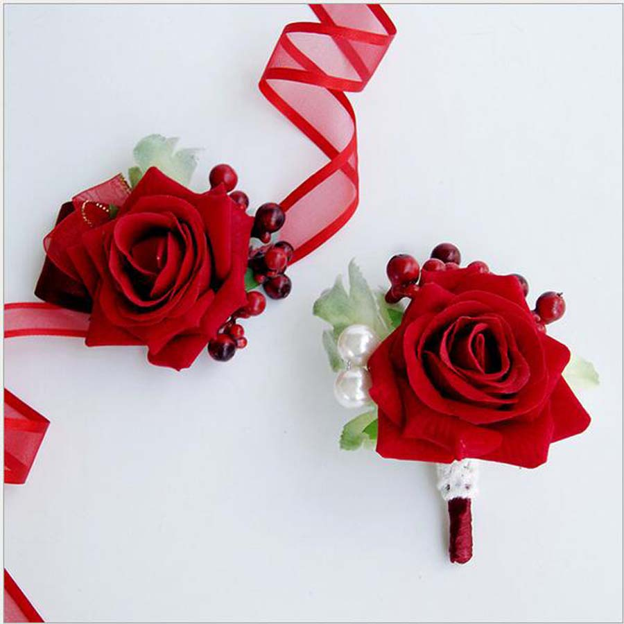 5Pcs Handmade Article Boutonniere Corsage Flowers Groomsman Red Rose ...