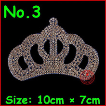 3pcs/lot Gold Crown Hot Fix Motifs Iron On Rhinestones Beads Patches Crystal Strass Applique Clothes Hat Shoe Garment Accessorie