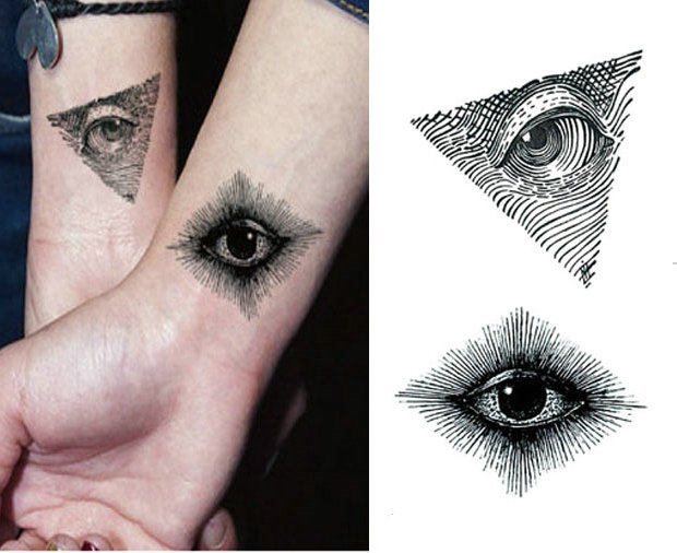 New Tattoo Stickers Eye Waterproof Simple Black Triangle Small Figure 10.5 * 6cm Disposable Tattoo Men And Women Hand Tattoo