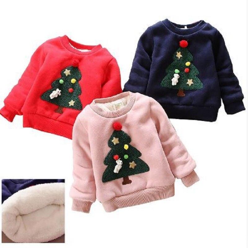 Winter Kids Boys Girls Christmas Sweater baby Plus Velvet Thick Sweatshirts 2017 Children Girls Christmas tree Warm Tops