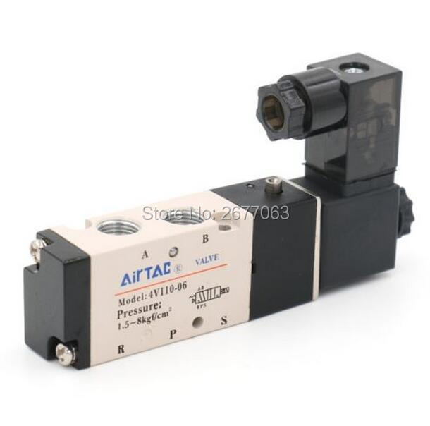 AIRTAC 4V110-06 5 Way 2 Position 1/8 Pneumatic Solenoid Valve DC 24V DC 12V AC 110V AC220V 4v210 08 pneumatic solenoid valve ac220v pt1 4 two position five way control