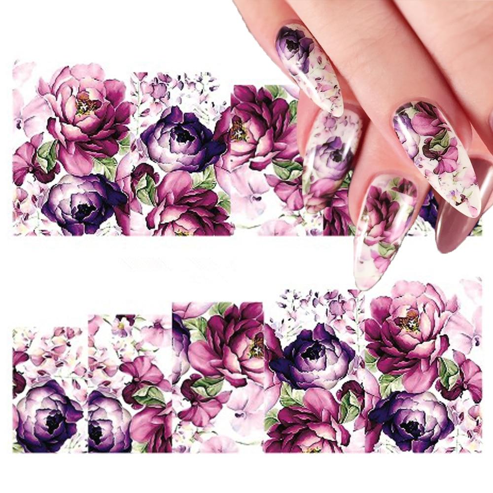 2 folhas Roxo Floral Flor Colorida Nail Art Transferência de Água Decal Adesivo para Manicure DIY Decorações