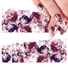 2 Sheets Purple Floral Water Decal Colorful Flower Nail Art Transfer Sticker  for DIY Manicure Decorations