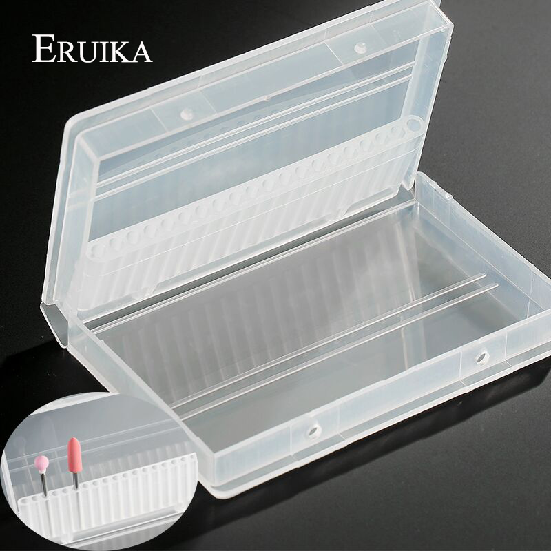 ERUIKA 1PC Transparent Acrylic Nail Drill Bit Box 20 Holes Plastic Display Stand Container For 3/32
