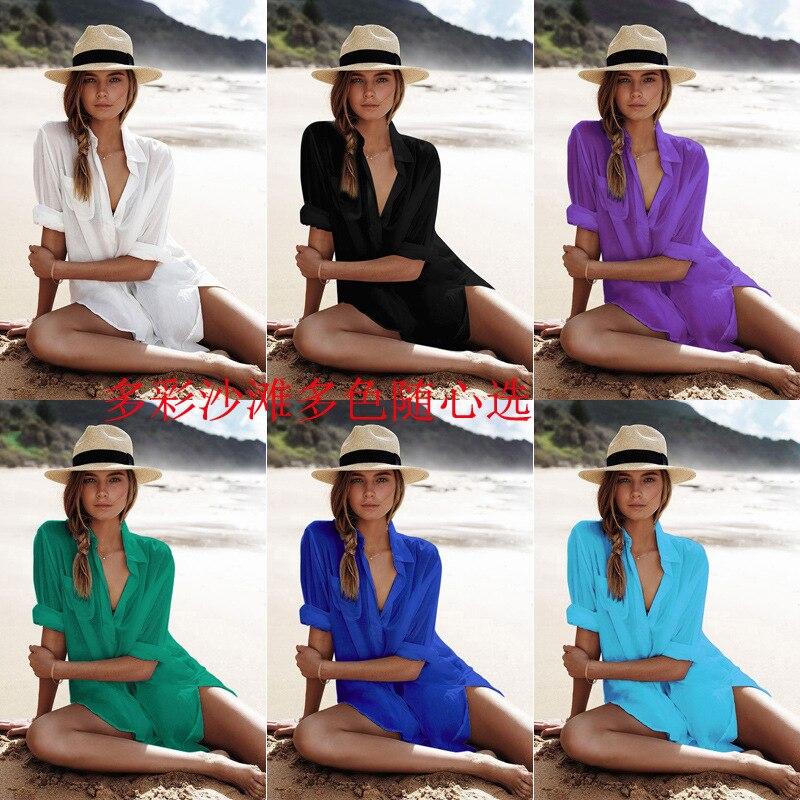 Kaftan Strand Kleid Strand Cover Up Pareo Badeanzug Frauen Mayo Bajan Tragen Tunique Femme Sommer Kleid Baumwolle Solide Schwimmen Tragen vertuschung