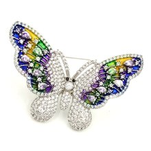 Luxury Vintage Iridescent Colored Enameled Butterfly Brooch Silver Tone Micro Pave Body Marquise CZ Deco Colorful Butterfly Pins