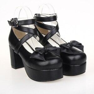 Красивые туфли в стиле Лолиты на высоком каблуке с принтом ангела женские туфли-лодочки из искусственной кожи с закругленным носком и банто...