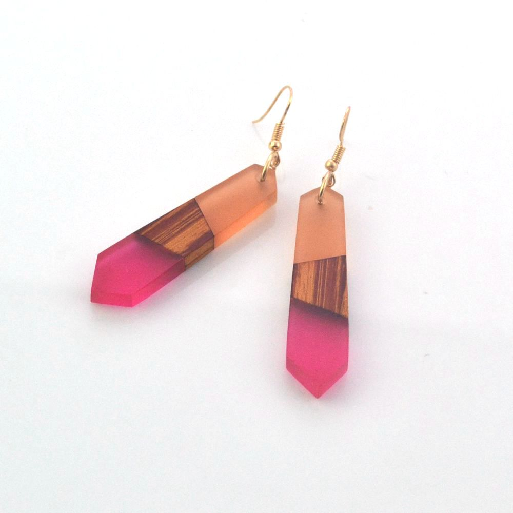Leanzni Vintage wood resin earrings, fashion features natural wood grain, women jewelry, gift wholesale.