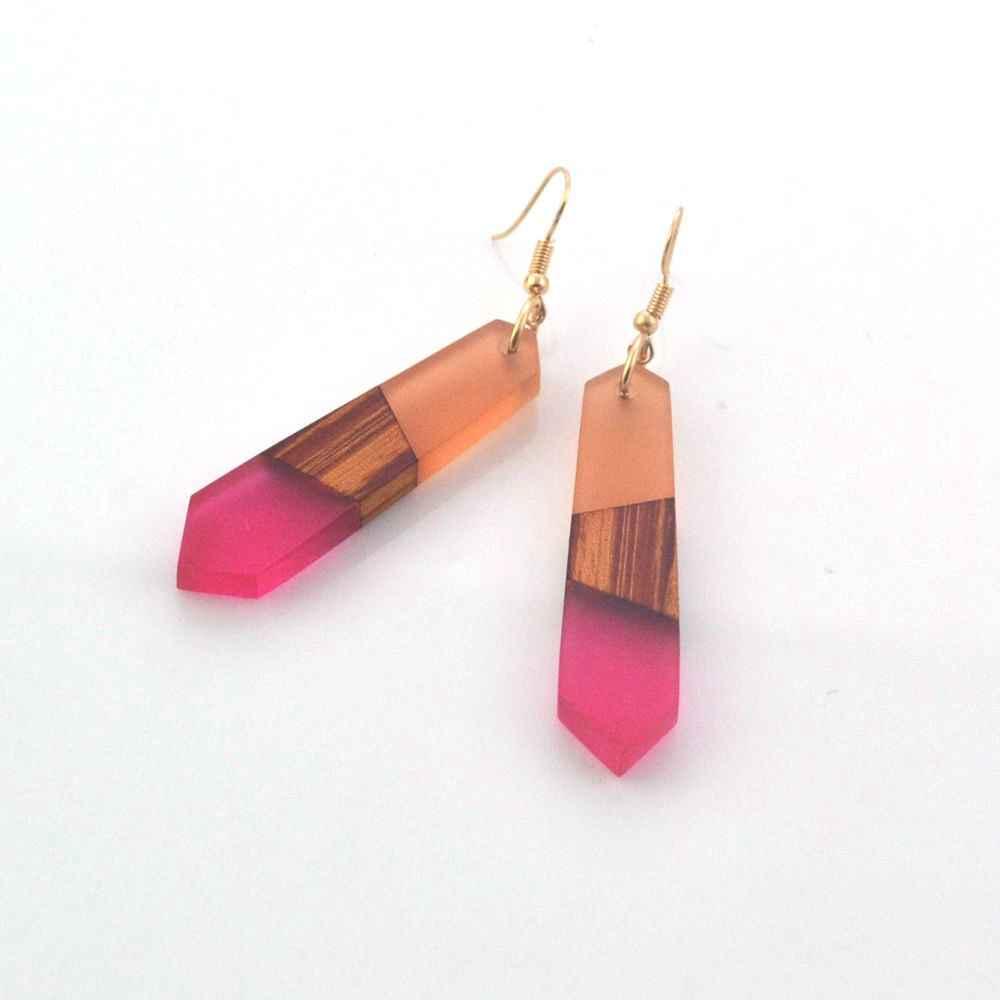 Leanzni 빈티지 나무 수지 귀걸이, 패션 자연 나뭇결, 여성 보석, 선물 도매 기능.