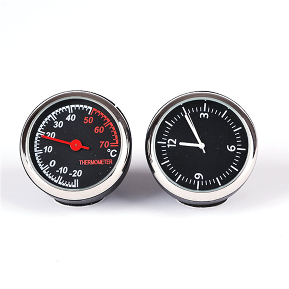 1 pair universally Car mini time quartz watches and car thermometer/Practical clock temperature meter for automobile