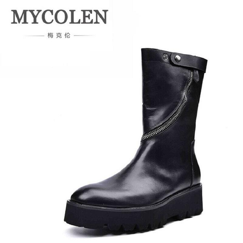 MYCOLEN Men Boots Fashion Casual High Black Motorcycle Shoes Lace-Up Classic Leather Ankle Boots Brand Design Winter Footwear fonirra new fashion high top casual shoes for men ankle boots pu leather lace up breathable hip hop shoes large size 45 728