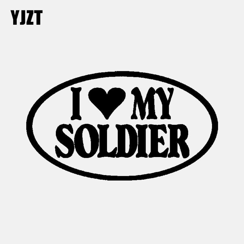 Yjzt 14 cm * 8 cm moda eu amo meu soldado preto prata vinil adesivo do carro decalques decoração C11-1956