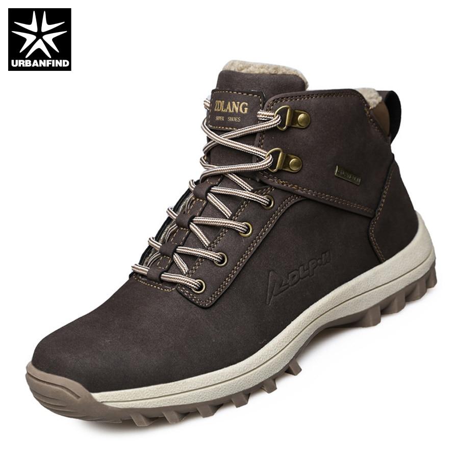 Мужские ботинки зимние с Мех животных Теплые зимние сапоги 2017 года Мужская обувь модные мужские зимние ботильоны на резиновой подошве